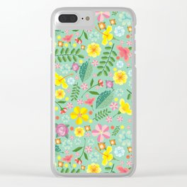 Colorful yellow pink green tropical floral pattern Clear iPhone Case