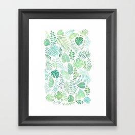 Green tropical leaves pattern Framed Art Print