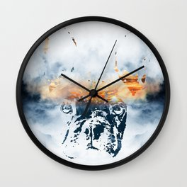 French bulldog and landscape abstract design Wall Clock