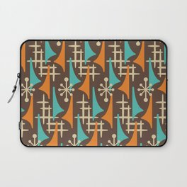 Mid Century Modern Atomic Wing Composition 235 Brown Orange and Turquoise Laptop Sleeve