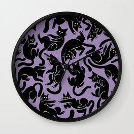 Tumbling Black Cat Wall Clock