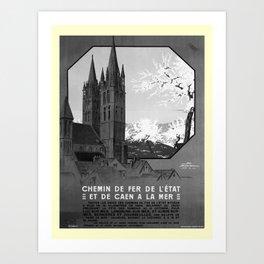 retro noir et blanc De Caen a la Mer Art Print
