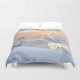 White Poinsettias And Winter Sunset By Annie Zeno Duvet Cover