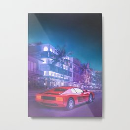 Vice City Streets Synthwave Metal Print