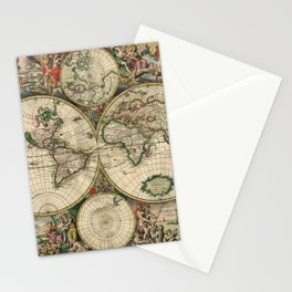 Vintage World Map 1689 Stationery Cards