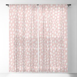 Pink Polka Dot Spots (white/pink) Sheer Curtain