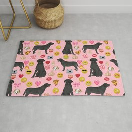 Black lab emoji labrador retrievers dog breed Rug