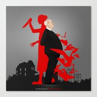 hitchcock Canvas Prints featuring Hitchcock by Matias G. Martinez
