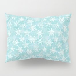 blue winter background with white snowflakes Pillow Sham