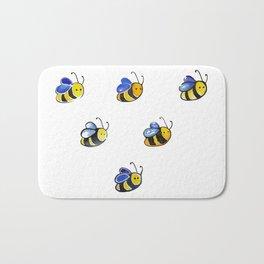 Cute little watercolor bees by annmariescreations Bath Mat
