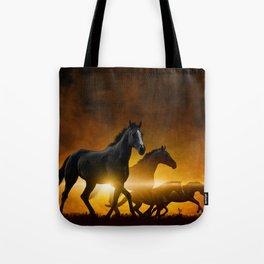 Wild Black Horses Tote Bag