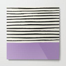 Lavender x Stripes Metal Print