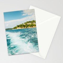 Boat trip near Rovinj. View to the island. Croatia Stationery Cards