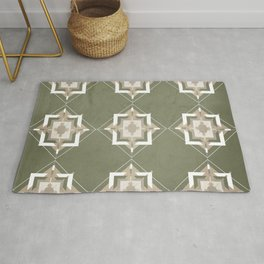 Sage Green and Taupe Mosaic Pattern Rug