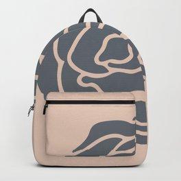 Minimalist Flower Navy Gray on Blush Pink Backpack