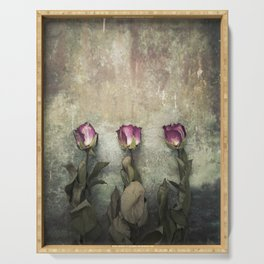 Three dried Roses Serving Tray