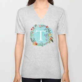 Personalized Monogram Initial Letter T Blue Watercolor Flower Wreath Artwork Unisex V-Neck