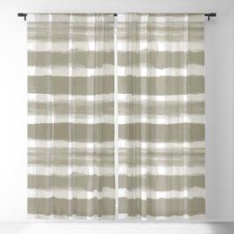 Watercolor Brushstroke Plaid Pattern Pantone Martini Olive Green 18-0625 Blackout Curtain