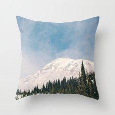 Mount Rainier in the Winter Throw Pillow