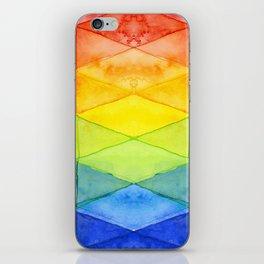 Geometric Abstract Rainbow Watercolor Pattern iPhone Skin