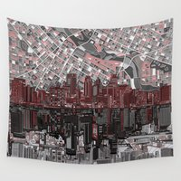 minneapolis Wall Tapestries featuring minneapolis city skyline by Bekim ART