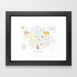 Neverland Map Color Framed Art Print