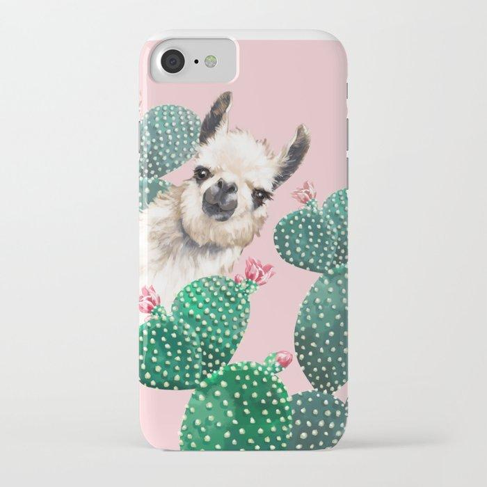 llama and cactus pink iphone case