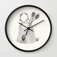 jackalope Wall Clocks featuring jackalope by yohan sacre