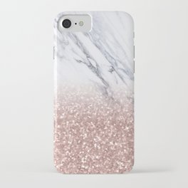 Rose Gold Glitter Marble iPhone Case