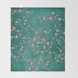 SAKURA LOVE - GREEN Throw Blanket