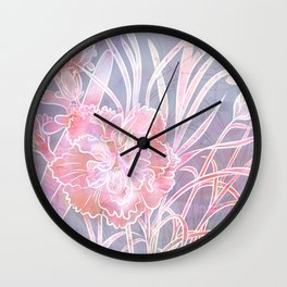 Carnation Creation - White Line Art Wall Clock