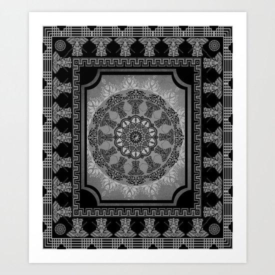 Indian Elephants Yin Yang Mandala Art Print