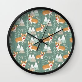 Corgis in the mountains Wall Clock