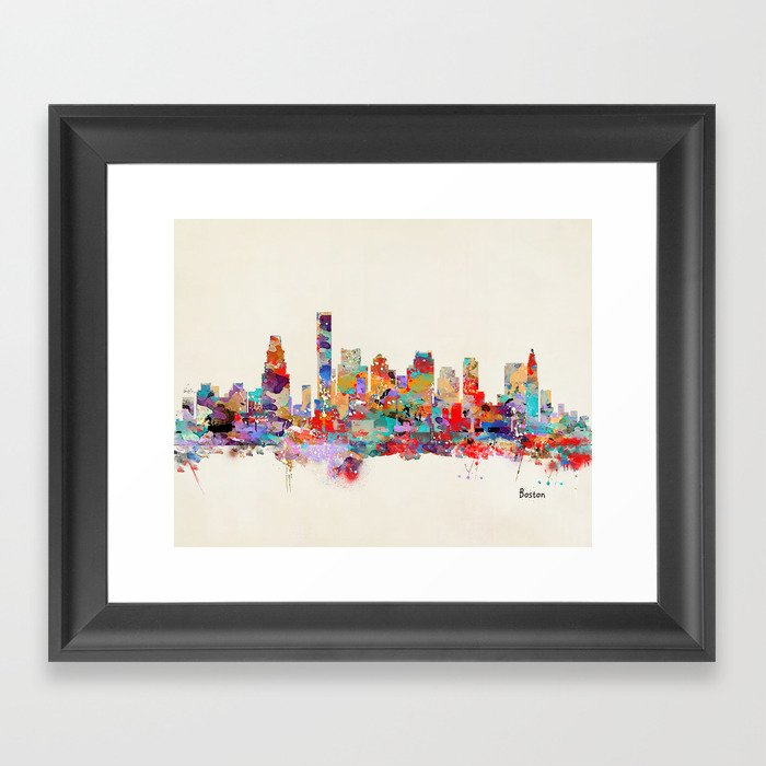 Boston city watercolor Gerahmter Kunstdruck