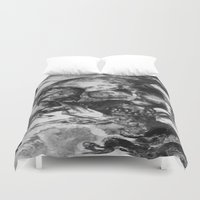psychadelic Duvet Covers featuring Black and White Psychadelic skull print  by Seawolf Designs