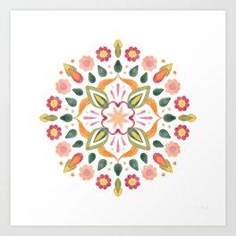 Watercolour Flower Mandala   Art Print
