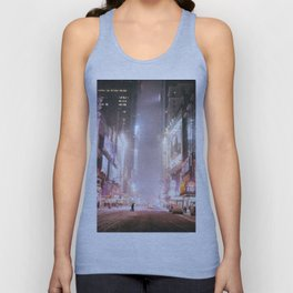 New York City Colorful Snowy Night in Times Square Unisex Tank Top