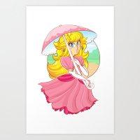 princess peach Art Prints featuring Princess Peach by zamiiz