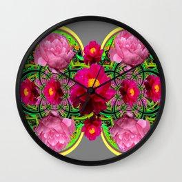 MODERN ART PINK PEONIES GREY ABSTRACT GARDEN Wall Clock