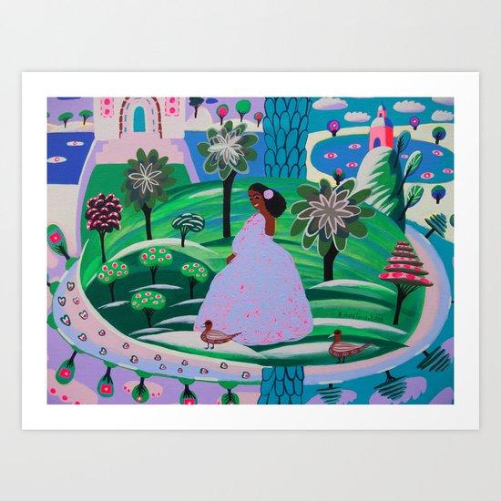 Lady Giggle Art Print
