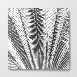 Black and White Modern Tropical Palm Fronds Metal Print