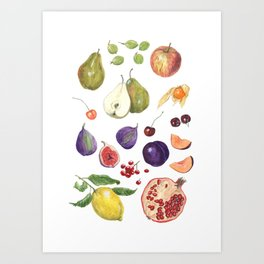 Watercolour Fruit Art Print