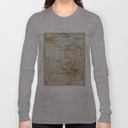 Vintage Map of Norfolk and Portsmouth VA (1919) Long Sleeve T-shirt