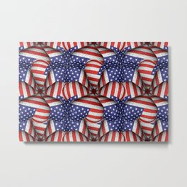 4th of July Modern Usa Flag Pattern Metal Print