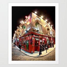 Temple Bar in Dublin Ireland On A Beautiful Night Art Print