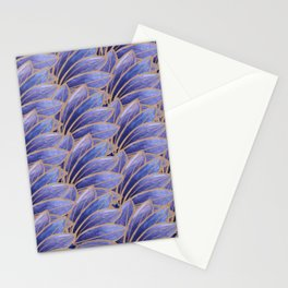 Art nouveau leaf pattern ultraviolet Stationery Cards