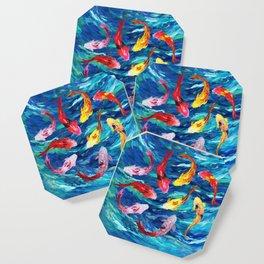 Koi fish rainbow abstract paintings Coaster