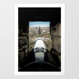 scott monument from Edinburgh castle gun Scotland Art Print