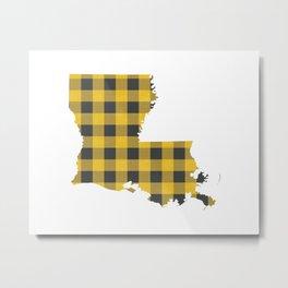 Louisiana Plaid in Yellow Metal Print