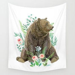 bear sitting in the forest Wall Tapestry